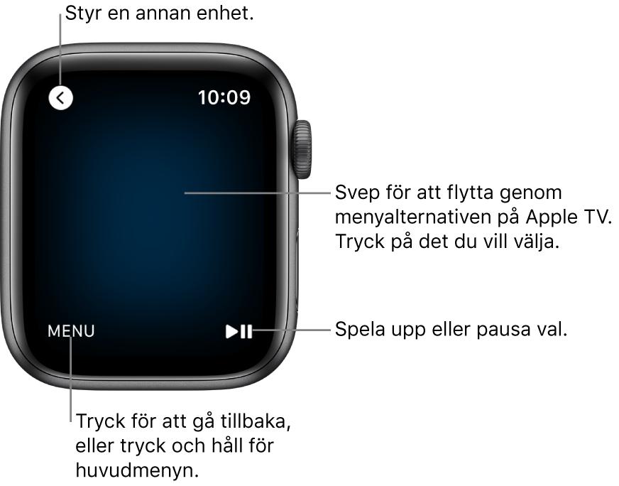 AppleWatch-skärmen medan den används som fjärrkontroll. Menyknappen finns längst ned till vänster och uppspelnings-/pausknappen finns längst ned till höger. Tillbakaknappen finns uppe till vänster.