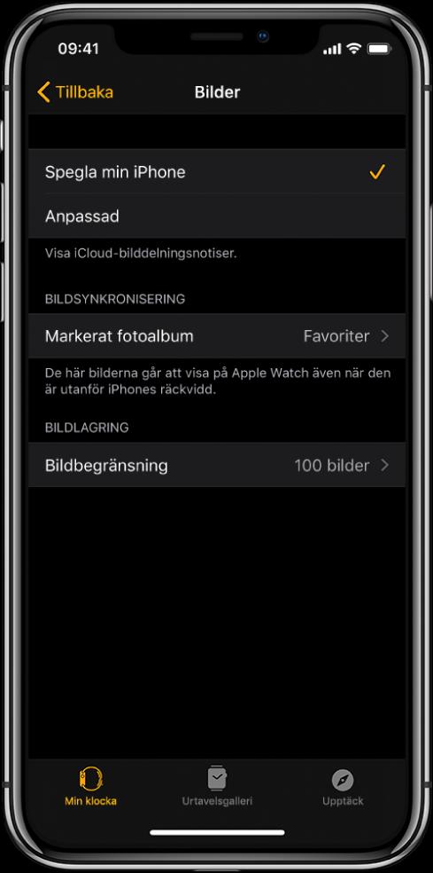 Bilder-inställningar i AppleWatch-appen på iPhone. Inställningen Bildsynkronisering finns i mitten och under den inställningen Bildbegränsning.