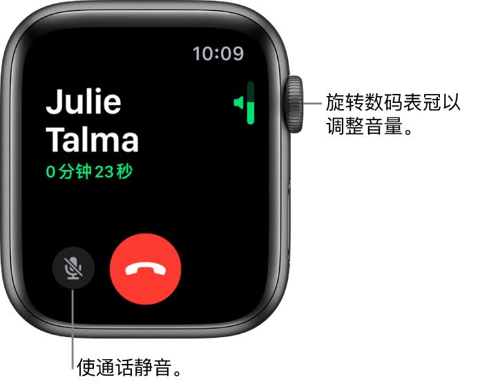 """在来电期间,屏幕的右上方显示水平的音量指示条,左下方显示""""静音""""按钮和红色的""""拒绝""""按钮。通话时长显示在来电者姓名下方。"""