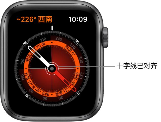 指南针位于 Apple Watch 表盘上。左上方是方位角。内圈显示海拔高度、斜度和经纬度。显示的白色十字线指向东南西北。