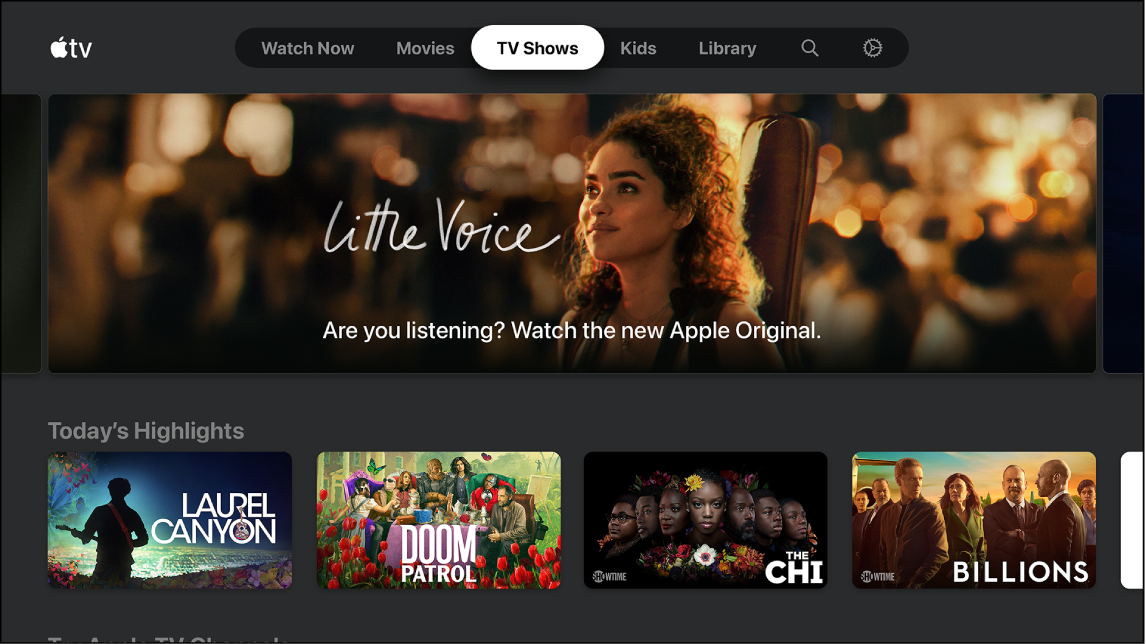 Screen showing TV Shows