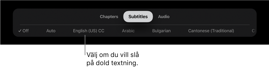 Undertitelmenyn under uppspelning