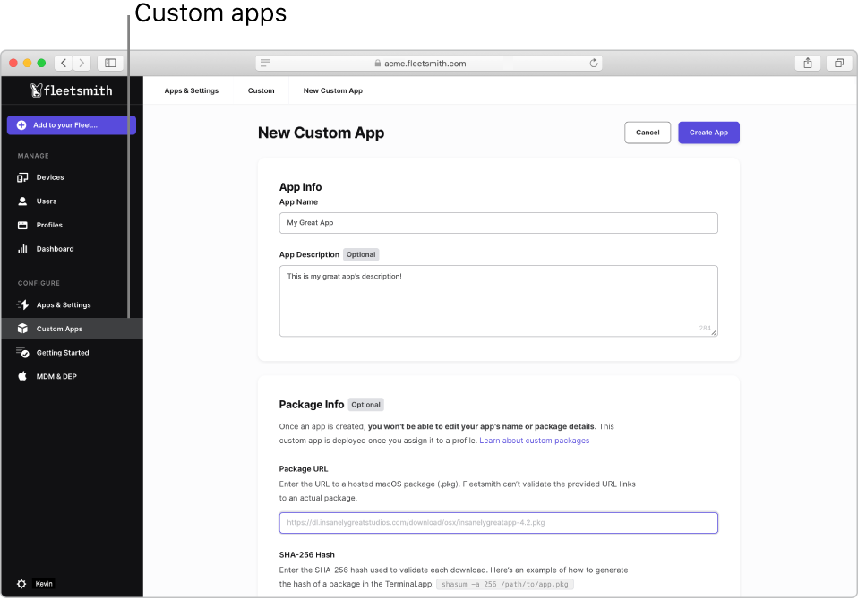 The Fleetsmith Admin Console showing Custom Apps selected in the sidebar.
