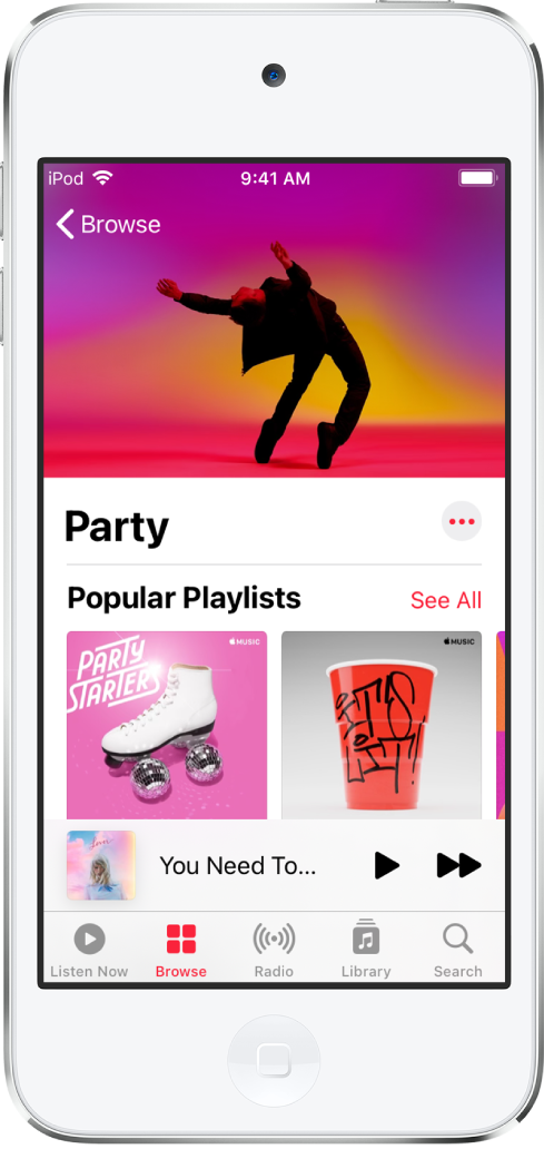 The Browse screen of Apple Music showing Party Playlists.