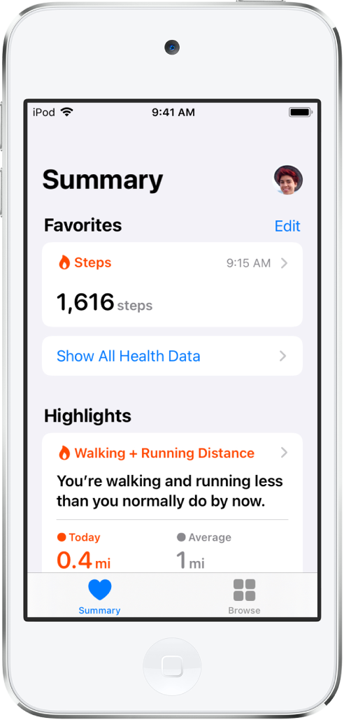 A Summary screen showing Steps as a category of Favorites. Below Highlights, the screen shows information about walking and running distance for the day.
