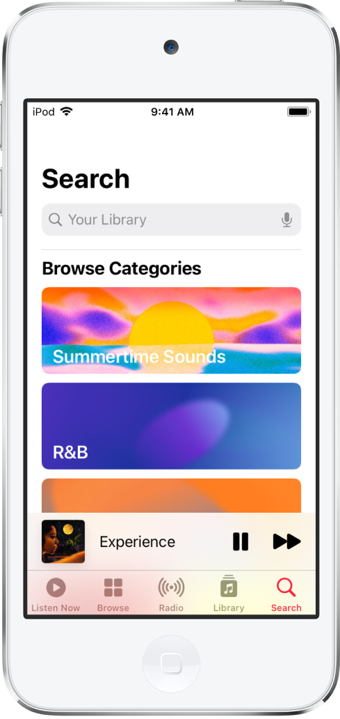The Search screen showing a search field at the top. The Browse Categories section below shows two categories.