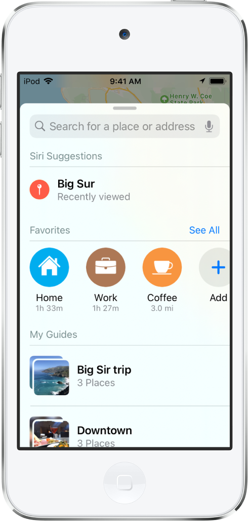 "The search card fills the screen. The section for My Guides appears below the Favorites row. In the My Guides section are guides named ""Big Sur trip"" and ""Downtown."""