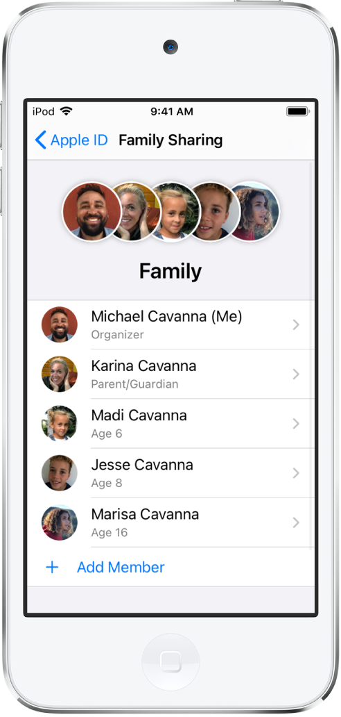 The Family Sharing screen in Settings. Five family members are listed and Add Member is visible at the bottom of the screen.