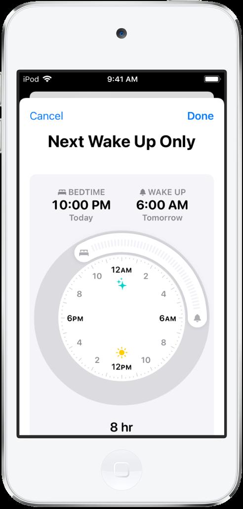 """La pantalla de configuración de Sueño en la app Salud para """"Sólo siguiente despertar"""". En el centro de la pantalla hay un reloj; el horario de sueño está configurado a las 10:00 p.m. y el despertador a las 6:00 a.m."""