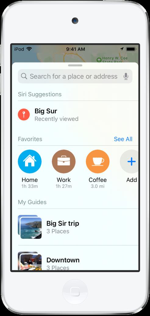"""La tarjeta de búsqueda llena la pantalla. La sección de """"Mis guías"""" aparece debajo de la fila de Favoritos. En la sección de """"Mis guías"""" se muestran guías llamadas """"Viaje por Big Sur"""" y """"Centro""""."""