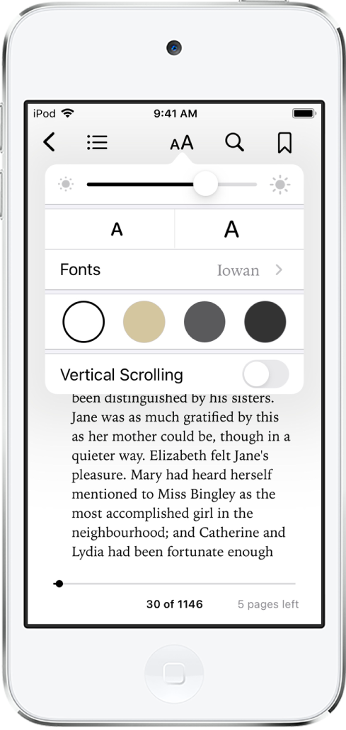 El menú Aspecto con controles (de arriba hacia abajo) para el brillo, el tamaño de la letra, el tipo de letra, el color de página y el desplazamiento.