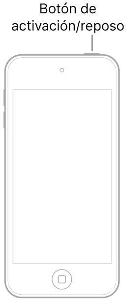Una ilustración de un iPod touch con la pantalla hacia arriba. El botón de activación/reposo se muestra en la parte superior del iPodtouch.