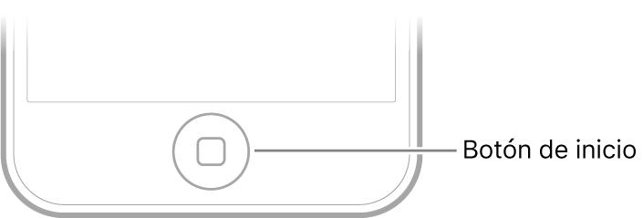 El botón de inicio está en el centro de la parte inferior del iPod touch.
