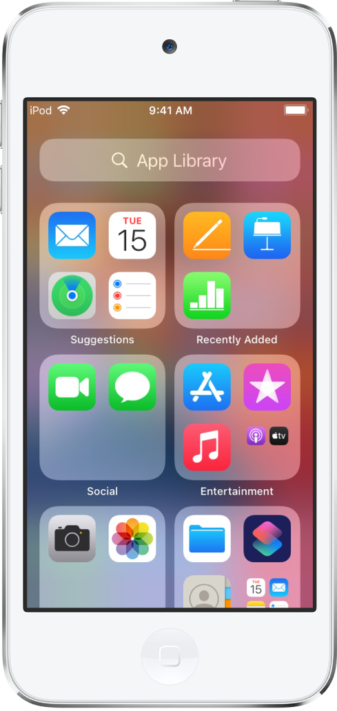 La biblioteca de apps del iPod touch mostrando las apps organizadas por categoría (Sugerencias, Recientes, Social, Entretenimiento, etc.).