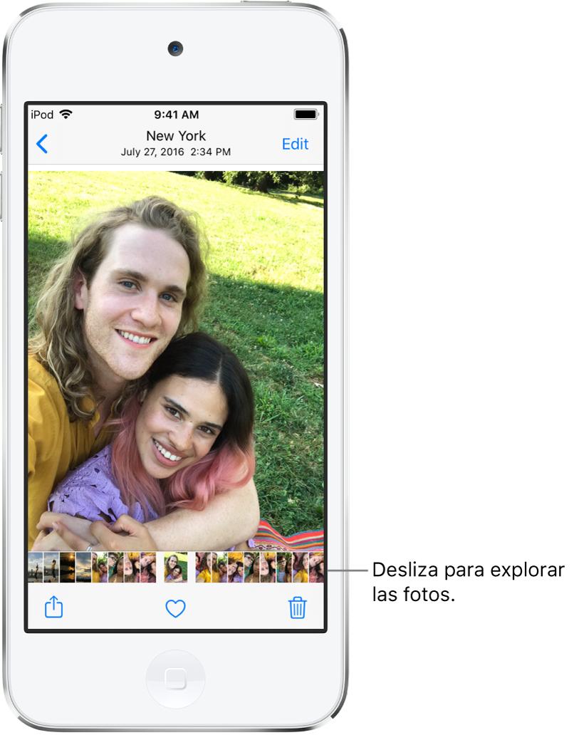 Una foto con miniaturas de otras fotos en la parte inferior de la pantalla. En la parte superior izquierda se encuentra en botón Atrás, que te lleva de regreso a la visualización en la que estabas. En la parte inferior se encuentran los botones Compartir, Me gusta y Eliminar. En la parte superior derecha está el botón Editar.