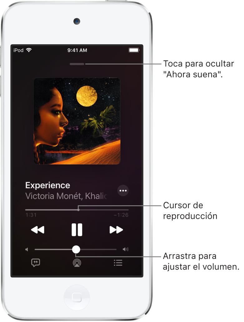 """La pantalla """"Ahora suena"""" mostrando la ilustración del álbum. Debajo se encuentra el nombre de la canción, el nombre del artista, el botón Más, el cursor de reproducción, los controles de reproducción, el regulador del volumen, el botón para ver la letra de la canción, el botón """"Destino de la reproducción"""" y el botón Fila. El botón """"Ocultar ahora suena"""" se sitúa en la parte superior."""