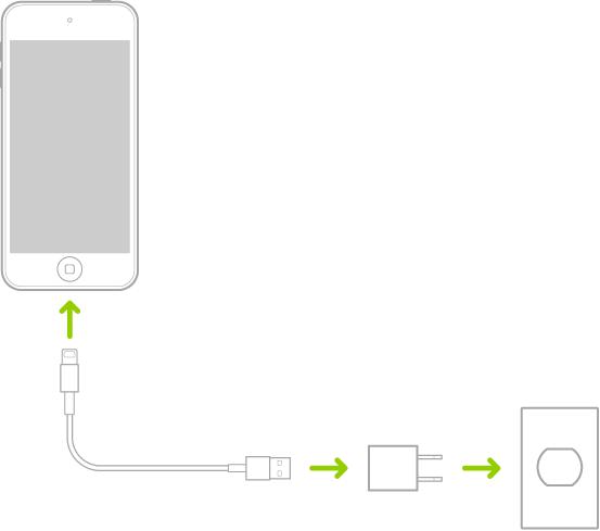 El iPodtouch conectado al adaptador de corriente que está conectado a un enchufe.