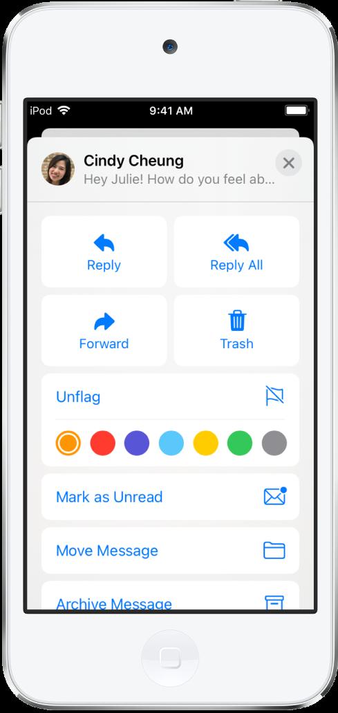 Un e-mail affichant des options de réponse sous le texte. Sous ces options se trouvent les choix de couleur pour les drapeaux.