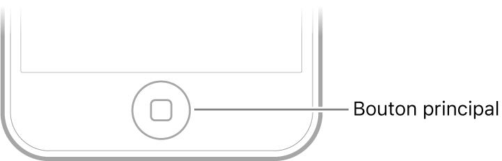 Le bouton principal au bas de l'iPodtouch.