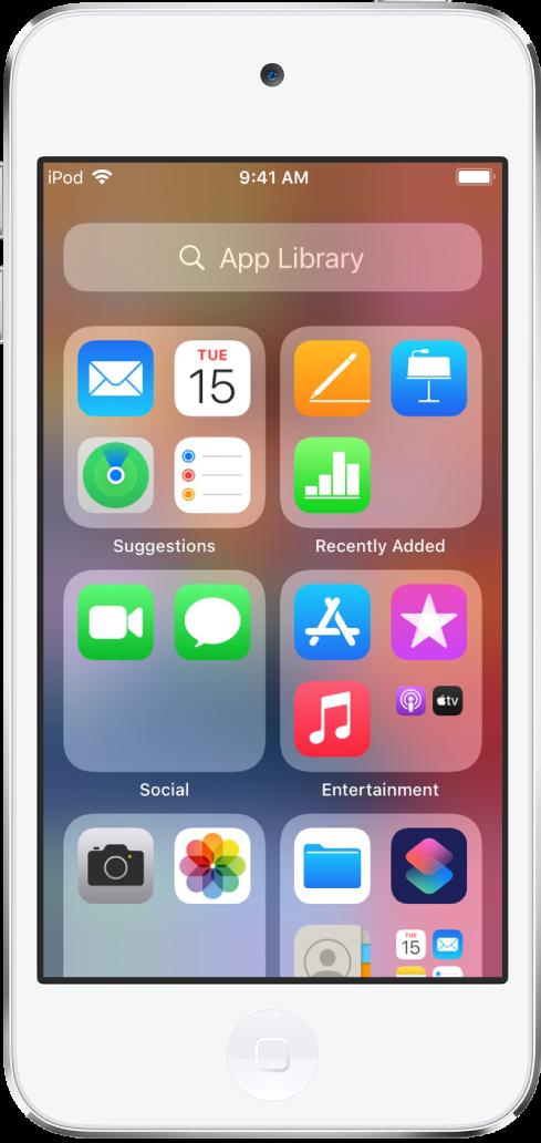 La bibliothèque d'apps de l'iPodtouch affichant les apps organisées par catégorie (Suggestions, Ajouts récents, Réseaux sociaux, Divertissement, etc.).