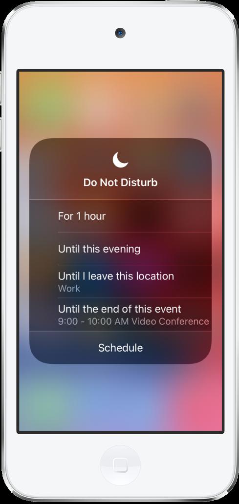 L'écran de sélection de la durée de la fonctionnalité «Ne pas déranger». Les différentes options disponibles sont: Pendant 1heure, Jusqu'à ce soir, Jusqu'à ce que je quitte ce lieu et Jusqu'à la fin de cet événement.