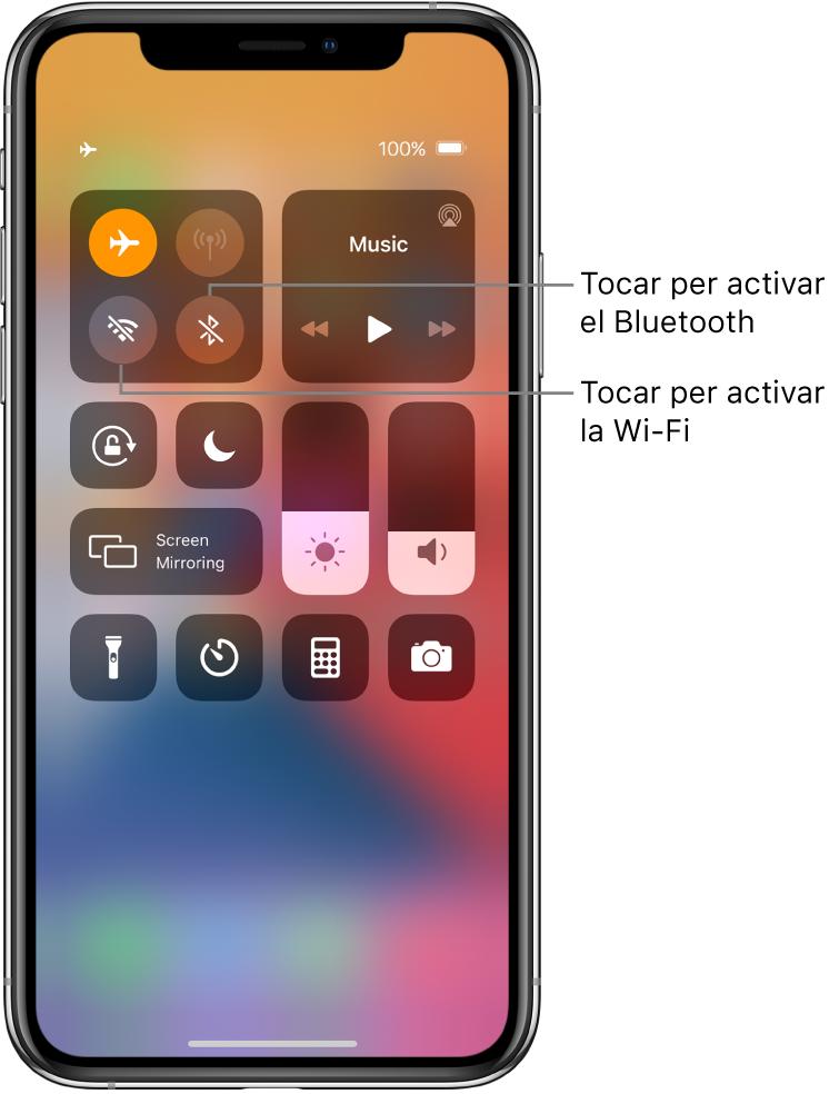 Centre de control amb el mode Avió activat. Els botons per activar la Wi-Fi i el Bluetooth son a prop de l'angle superior esquerre de la pantalla.