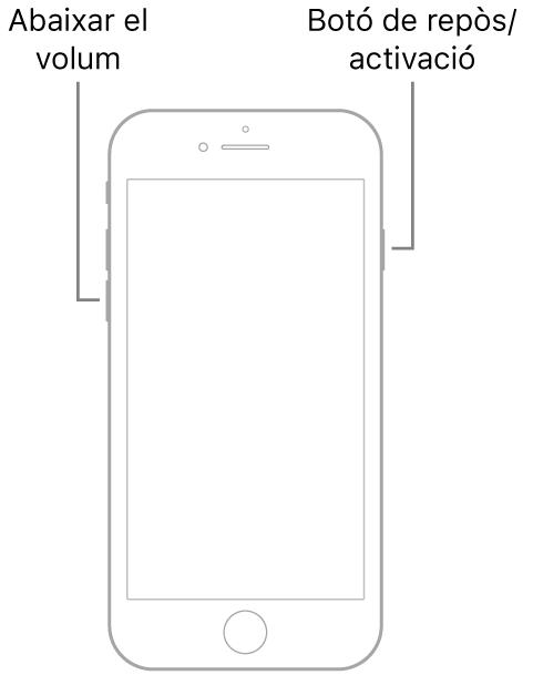 Il·lustració d'un iPhone 7 amb la pantalla de cara cap amunt. El botó per abaixar el volum és al costat esquerre del dispositiu, i el botó de repòs/activació al costat dret.