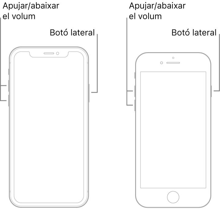 Il·lustracions de dos models d'iPhone amb la pantalla de cara cap amunt. El model de l'esquerra no té botó d'inici, mentre que el de la dreta té un botó d'inici a prop de la part inferior del dispositiu. En tots dos models, els botons per apujar i abaixar el volum són al costat esquerre del dispositiu, i el botó lateral al costat dret.