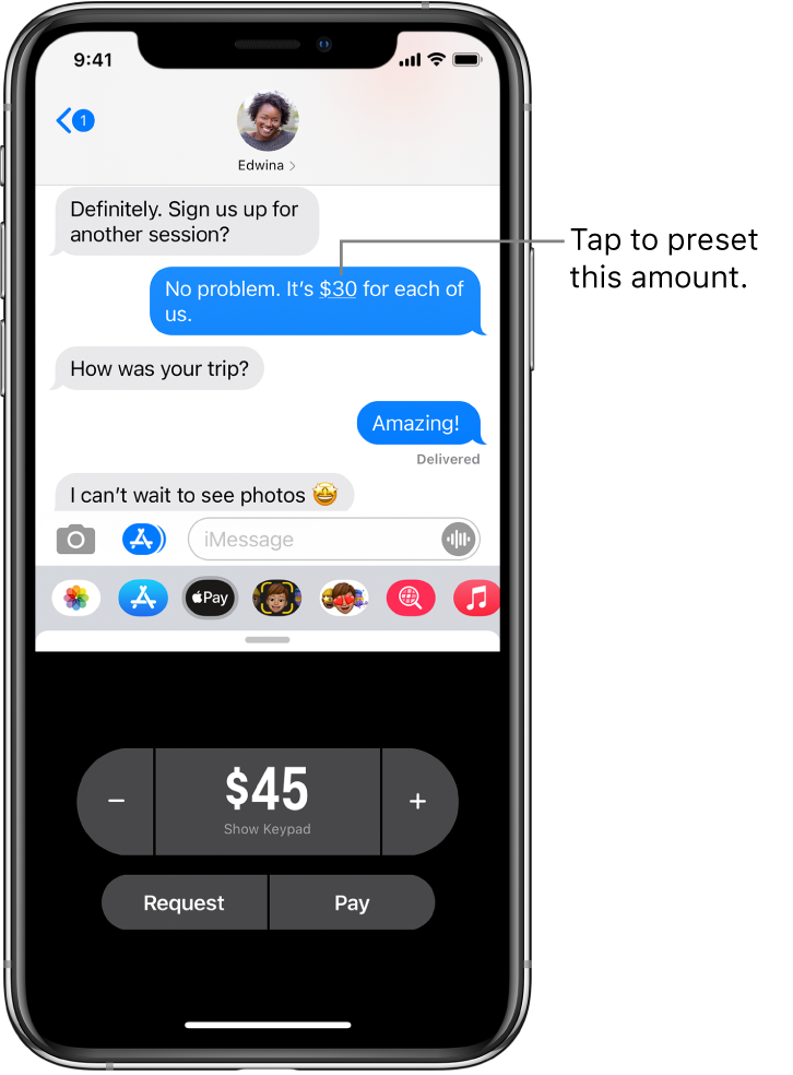 An iMessage conversation with the Apple Pay app open at the bottom.