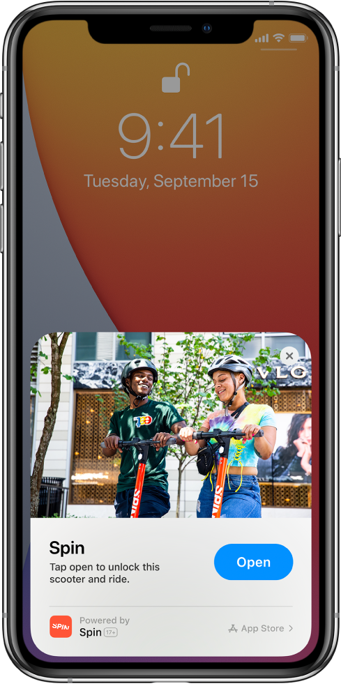 An App Clip shown at the bottom of the iPhone Lock Screen.