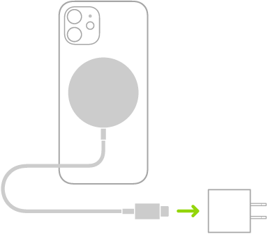 An illustration showing one end of MagSafe Charger attached to the back of iPhone and the other end connecting to a power adapter.
