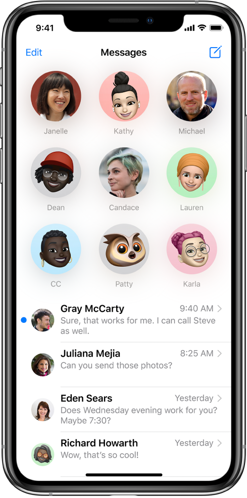 The Messages conversation list in the Messages app. At the top of the screen, nine contact images are shown in circles indicating that they're pinned. Below is the conversation list.