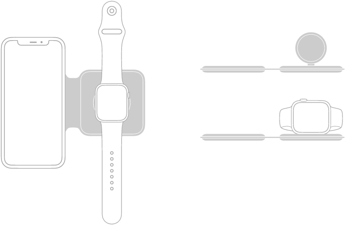 An illustration on the left shows iPhone and Apple Watch placed flat on the charging surfaces of MagSafe Duo Charger. An illustration at the top right shows the Apple Watch charging surface is raised. An illustration below it shows Apple Watch placed on the raised charging surface.