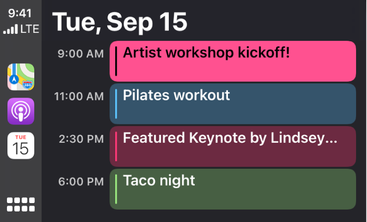 A calendar screen in CarPlay showing 4 events for Tuesday, September 15.