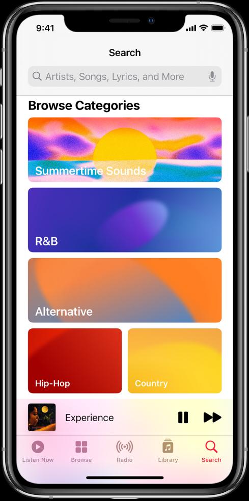 """La pantalla Buscar mostrando un campo de búsqueda en la parte superior. La sección """"Explorar categorías"""" debajo muestra tres categorías."""