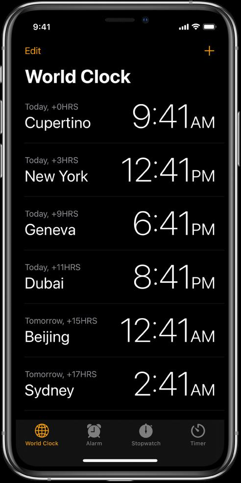 """La pestaña """"Reloj mundial"""" mostrando la hora en varias ciudades. Toca Editar en la equina superior izquierda para acomodar los relojes. Toca el botón Agregar en la esquina superior derecha para agregar más. Los botones Reloj mundial, Alarma, Cronómetro y Temporizador están en la parte inferior."""