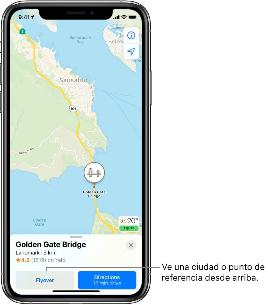 """Un mapa de San Francisco. En el área inferior de la pantalla, una tarjeta de información del puente Golden Gate muestra el botón Flyover a la izquierda del botón """"Cómo llegar""""."""