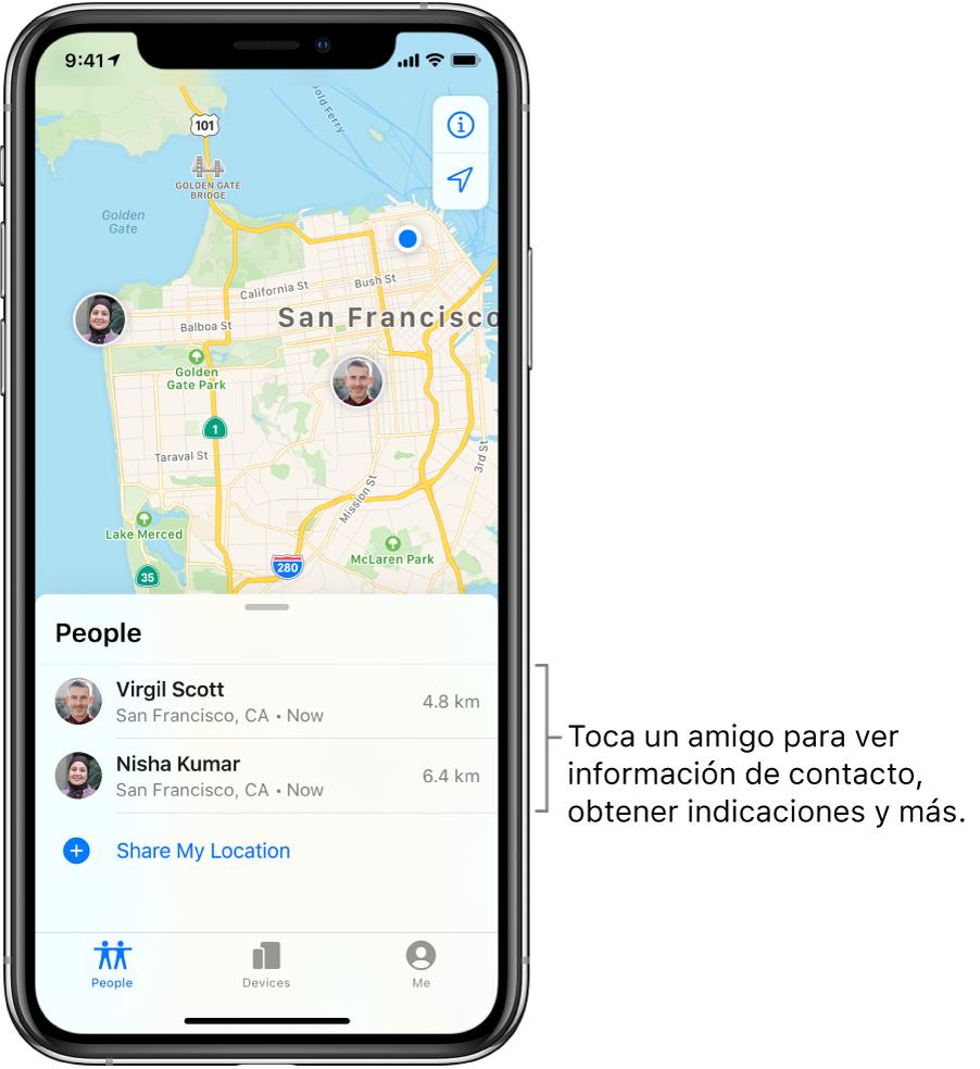 La pantalla de Encontrar mostrando la pestaña Personas. La lista Personas con dos amigos: Vicente Sánchez y Nadia Cavazos. Sus ubicaciones se muestran en un mapa de San Francisco.