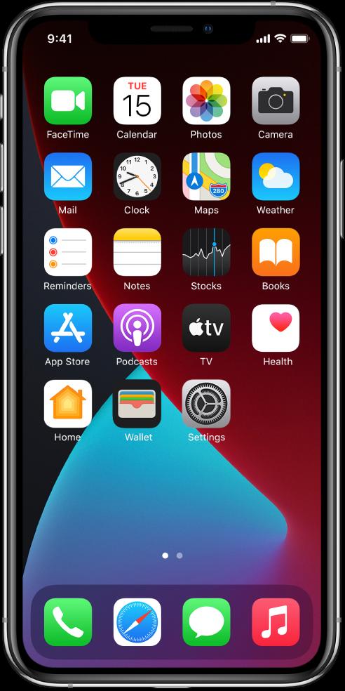 La pantalla de inicio del iPhone con el modoObscuro activado.