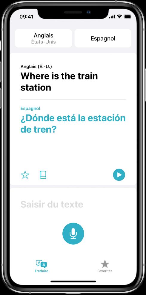 L'écran Traduire, affichant deux langues sélectionnées, anglais et espagnol, en haut de l'écran, une traduction au milieu et le champ «Saisir du texte» en bas.