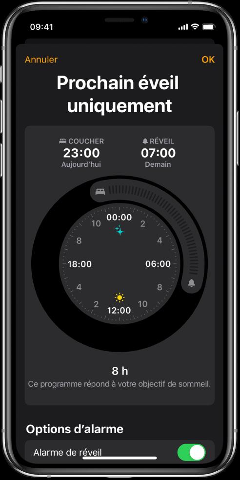 Écran «Prochain réveil uniquement» affichant l'heure de coucher commençant à 23h et l'heure de réveil à 7h.