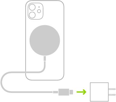 MagSafeCharger зарядтау құрылғысының бір ұшының iPhone құрылғысының артына тіркелгенін, ел екіншісінің қуат адаптеріне қосылып тұрғанын көрсеткен сурет.
