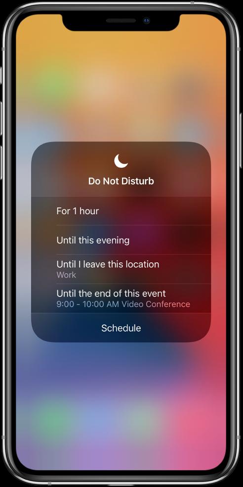 Do Not Disturb параметрін қанша уақытқа қосулы қалдыру керектігін таңдауға арналған экран— параметрлер — «For 1 hour», «Until this evening», «Until I leave this location» және «Until the end of this event».