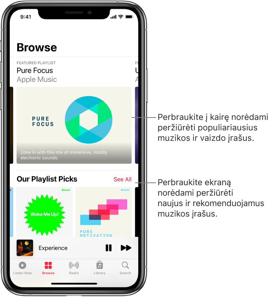 """Ekranas """"Browse"""", kurio viršuje rodoma rekomenduojama muzika. Galite perbraukti į kairę ir peržiūrėti daugiau rekomenduojamų muzikos bei vaizdo įrašų. """"Our Playlist Picks"""" skyrius atsiranda žemiau, jame rodomos dvi """"Apple Music"""" stotys. Mygtukas """"See All"""" rodomas kairėje skilties """"You Gotta Hear"""" pusėje. Galite perbraukti ekraną į viršų ir naršyti naują bei rekomenduojamą muziką."""