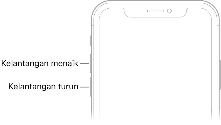 Bahagian atas depan iPhone dengan butang tingkatkan dan turunkan kelantangan di bahagian kiri atas.