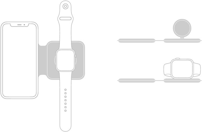 Ilustrasi di sebelah kiri menunjukkan iPhone dan AppleWatch diletakkan di atas permukaan pengecasan PengecasMagSafe Duo. Ilustrasi di bahagian kanan atas menunjukkan permukaan pengecasan AppleWatch diangkat. Ilustrasi di bawahnya menunjukkan AppleWatch yang diletakkan pada permukaan pengecasan yang diangkat.