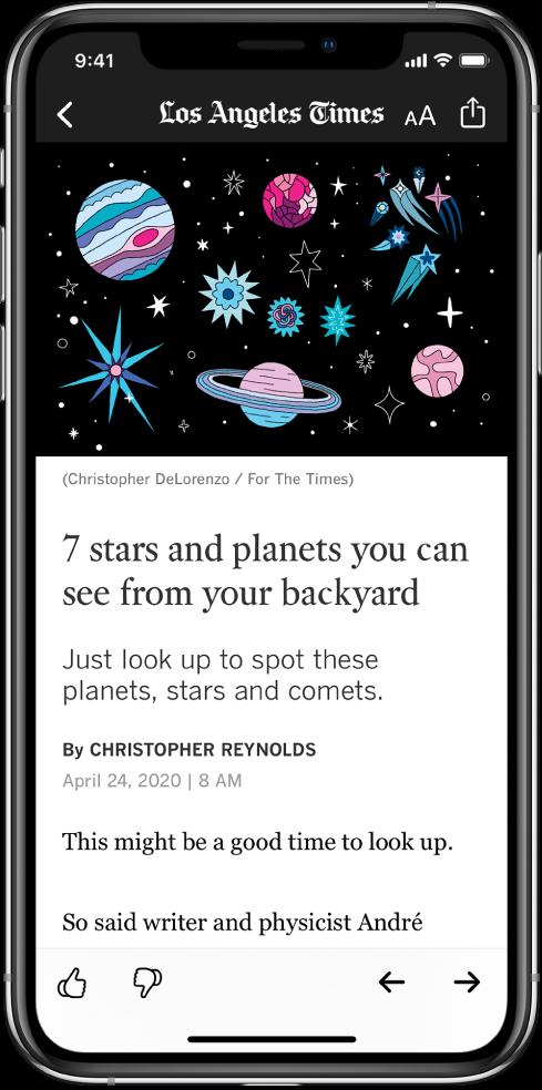 Екран приказује новински чланак. При врху су смештена дугмад Back, Resize Text и Share. Назив канала се такође приказује при врху. Испод дугмади приказују се велика слика и наслов. При дну екрана налазе се дугмад Suggest More, Suggest Less, Previous и Next.