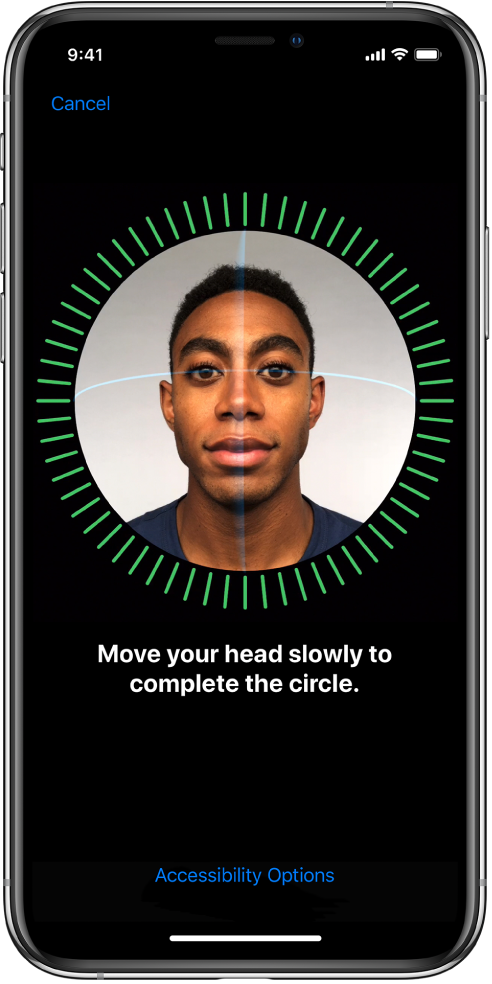 Inställningsskärmen för FaceID-igenkänning. Ett ansikte visas på skärmen inuti en cirkel. Texten nedanför ber dig att långsamt röra på huvudet för att fylla i cirkeln.