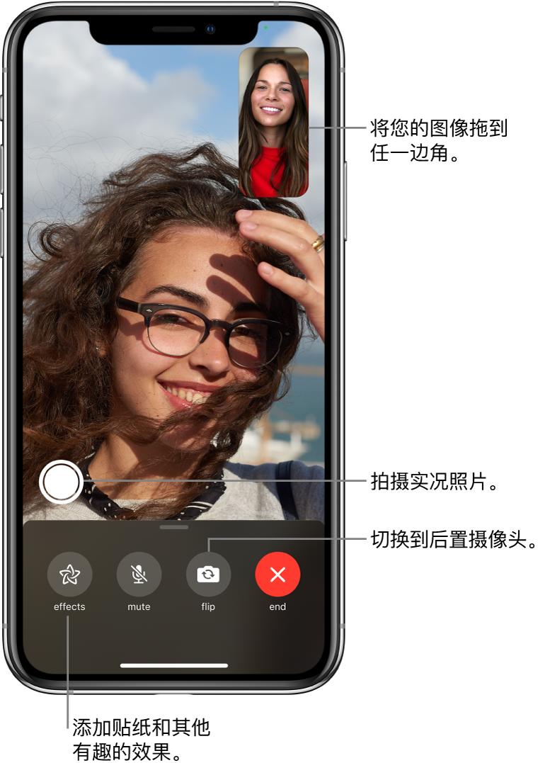 """FaceTime 通话屏幕,显示正在进行的通话。您的图像出现在右上角的小方框中,另一个人的图像填充了屏幕的剩余部分。屏幕底部依次是""""效果""""、""""静音""""""""翻转""""和""""结束""""按钮。这些按钮上方是用于拍摄实况照片的按钮。"""