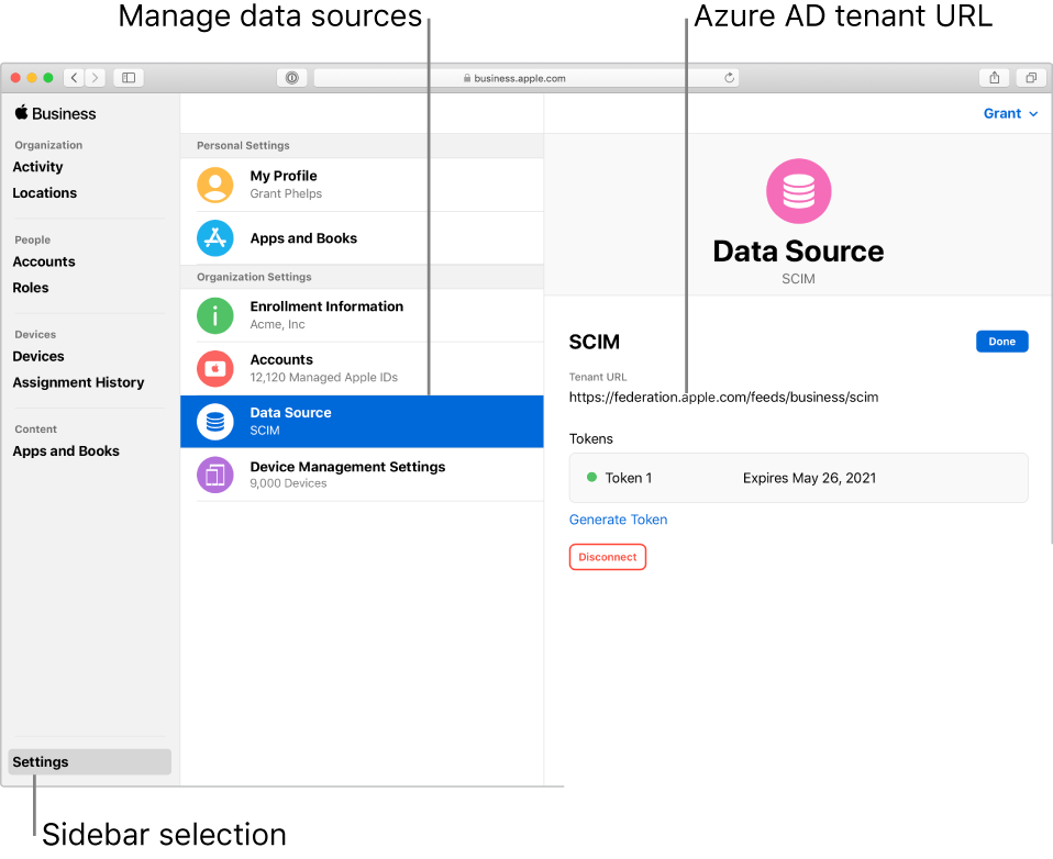 The Apple Business Manager window, with Settings selected in the sidebar. The Data Source pane shows an active SCIM connection.